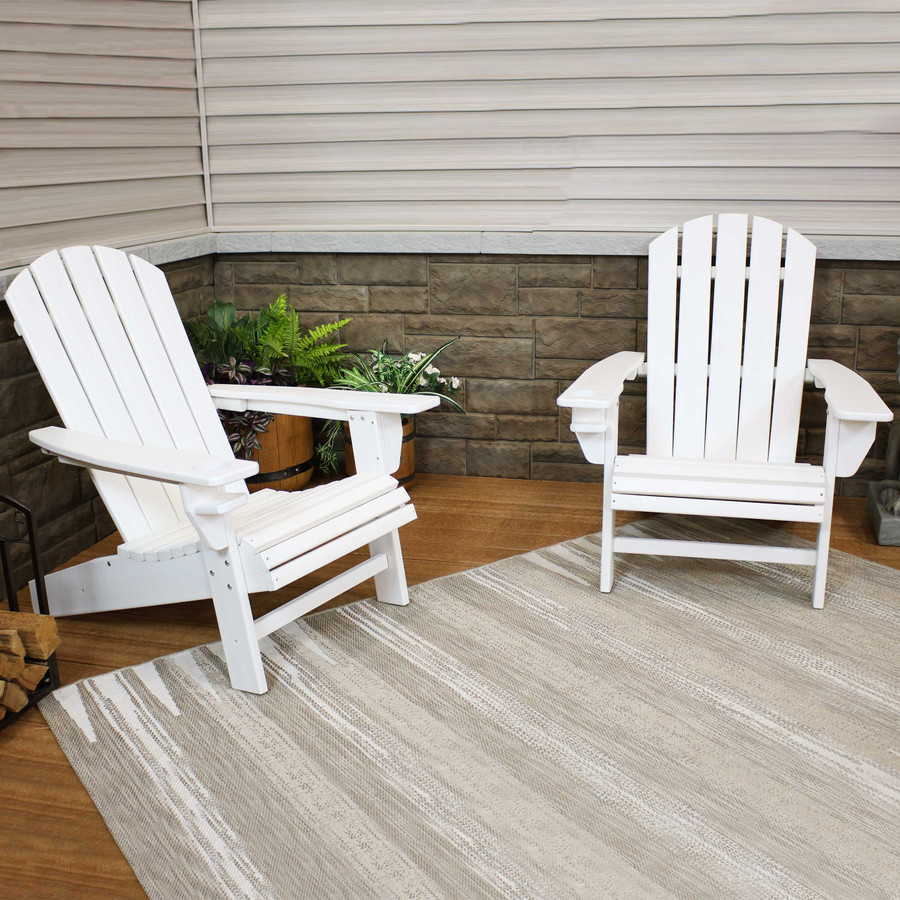 Sunnydaze All-Weather Outdoor Adirondack Chair with Drink Holder - White - Set of 2