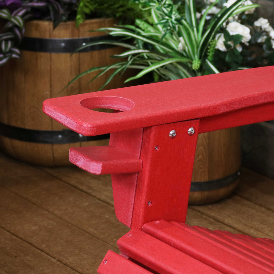 Sunnydaze All-Weather Outdoor Adirondack Chair with Drink Holder - Multiple Colors