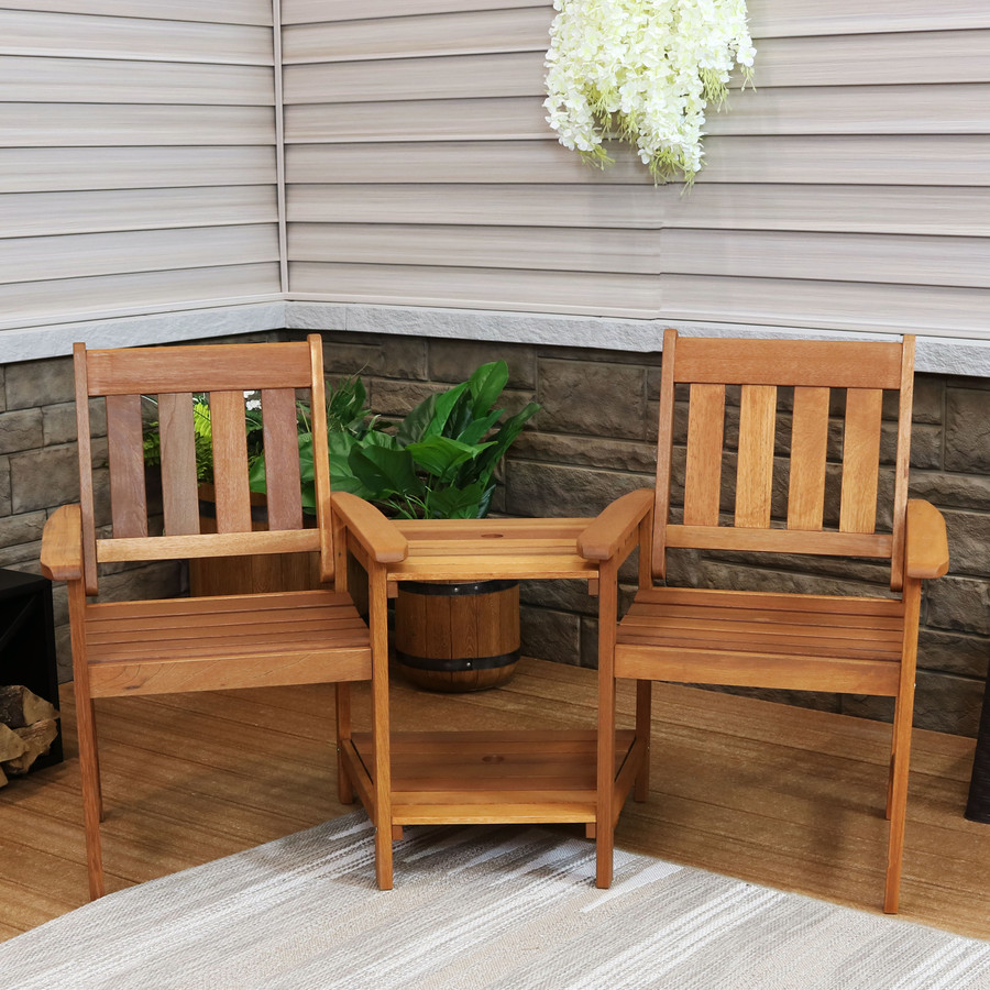 Meranti Wood with Teak Oil Finish Outdoor Jack-and-Jill Chairs with Attached Table
