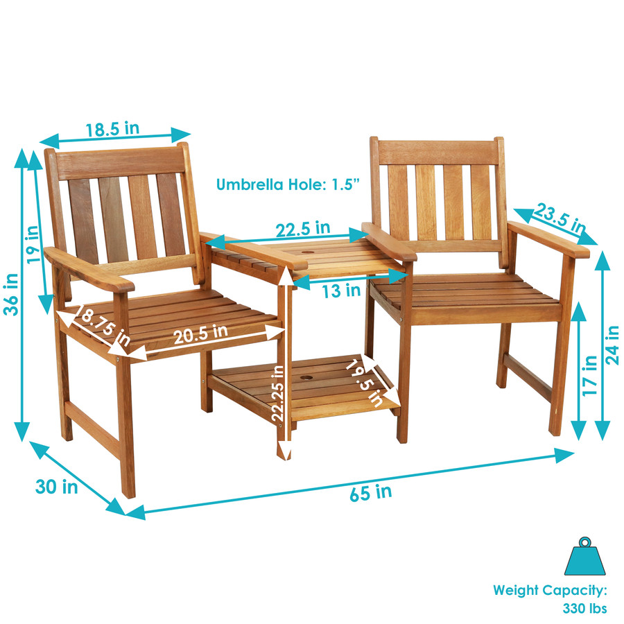 Sunnydaze Meranti Wood with Teak Oil Finish Outdoor Jack-and-Jill Chairs with Attached Table, 65-Inch