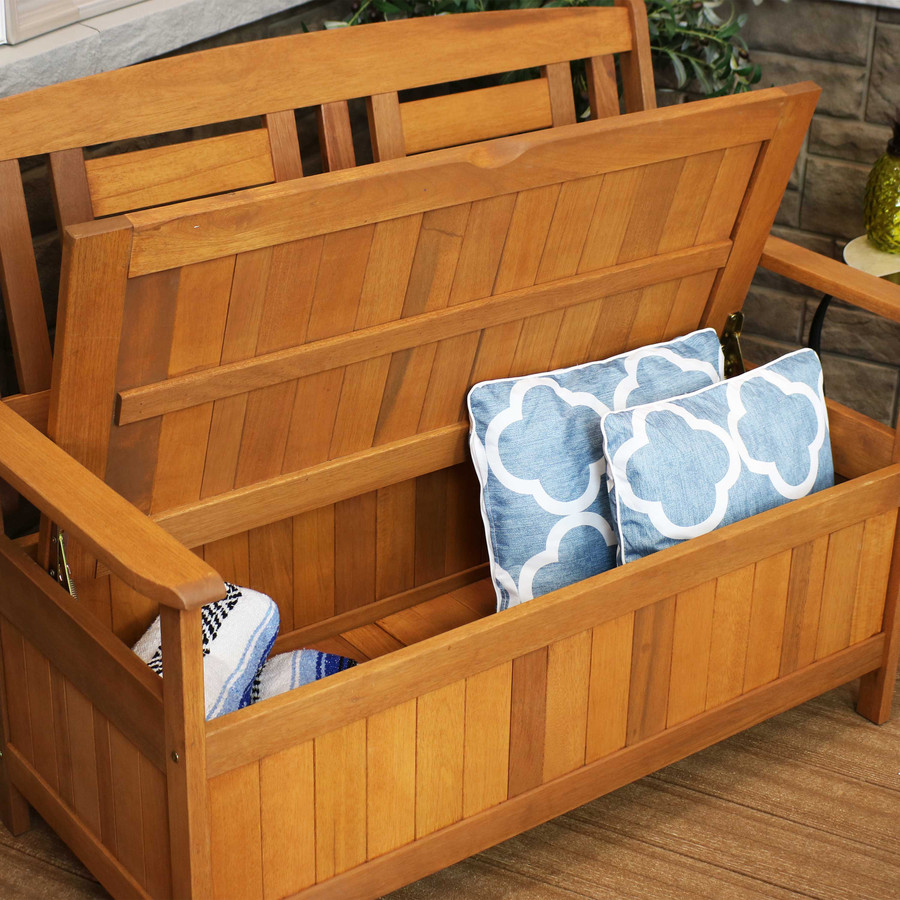 Closeup of Bench Storage (Pillows and Blanket NOT Included)