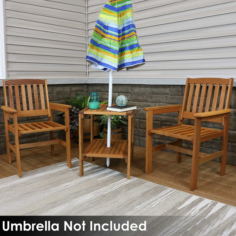 Sunnydaze Meranti Wood with Teak Oil Finish 3-Piece Outdoor Patio Conversation Set