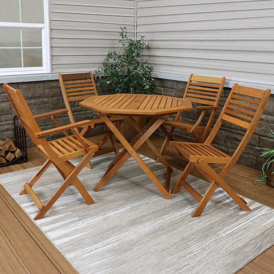 Sunnydaze Meranti Wood 5-Piece Outdoor Folding Patio Dining Set, Teak Oil Finish