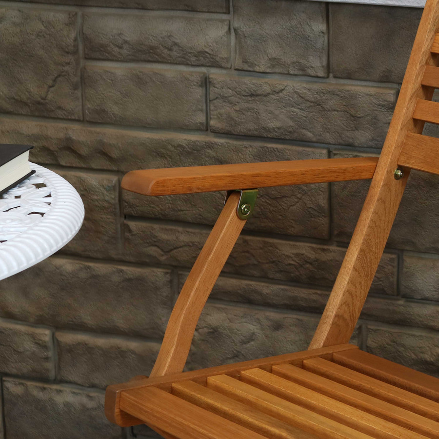 Sunnydaze Meranti Wood with Teak Oil Finish Outdoor Folding Patio Armchairs, Set of 2