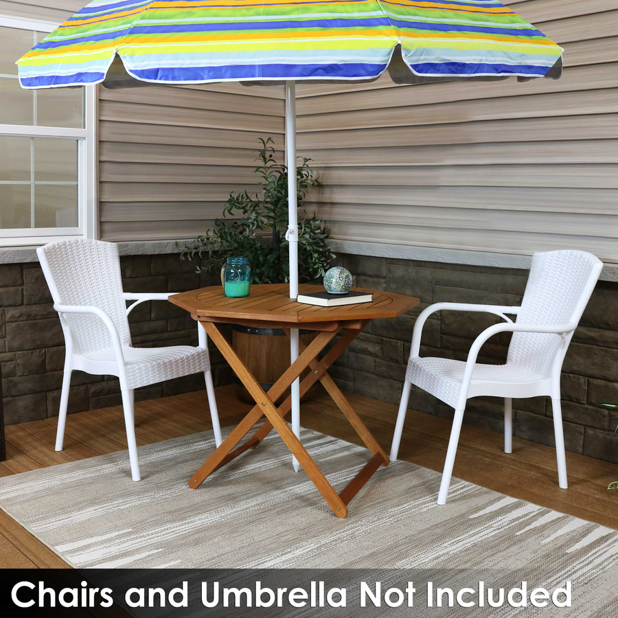 Meranti Wood Octagon Outdoor Folding Patio Table (Chairs and Umbrella Not Included)