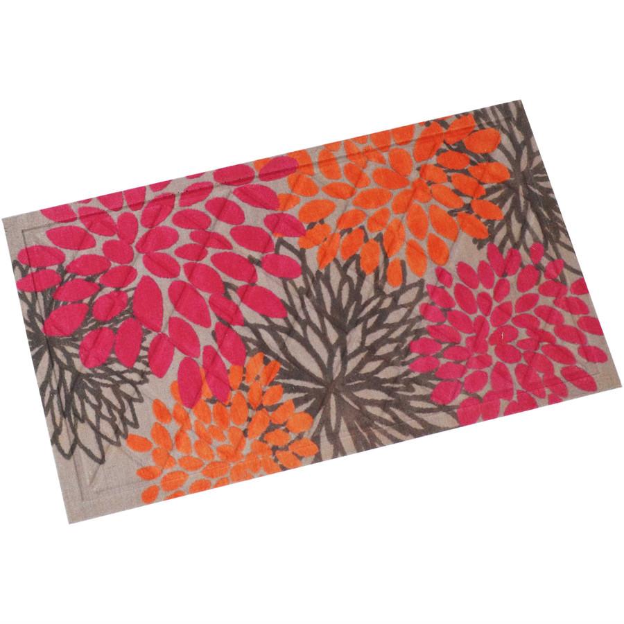 """Sunnydaze Kitchen Floor Mat - 17"""" L x 29"""" W - Pink/Orange Floral"""
