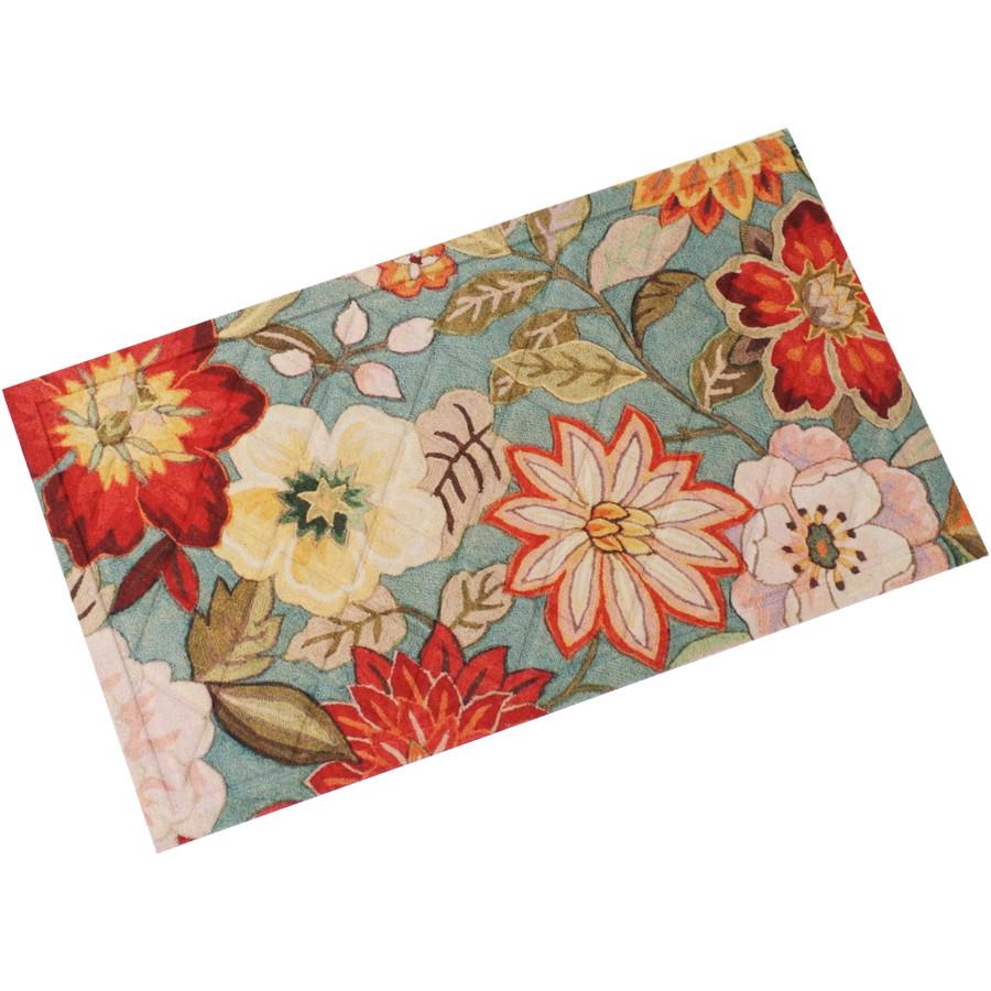 """Sunnydaze Kitchen Floor Mat - 17"""" L x 29"""" W - Red/Orange Floral"""