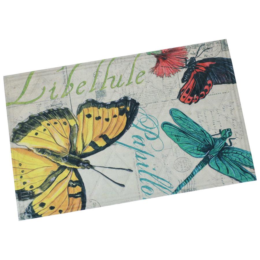 "Sunnydaze Kitchen Floor Mat - 23"" L x 35"" W - Multicolor Butterfly"