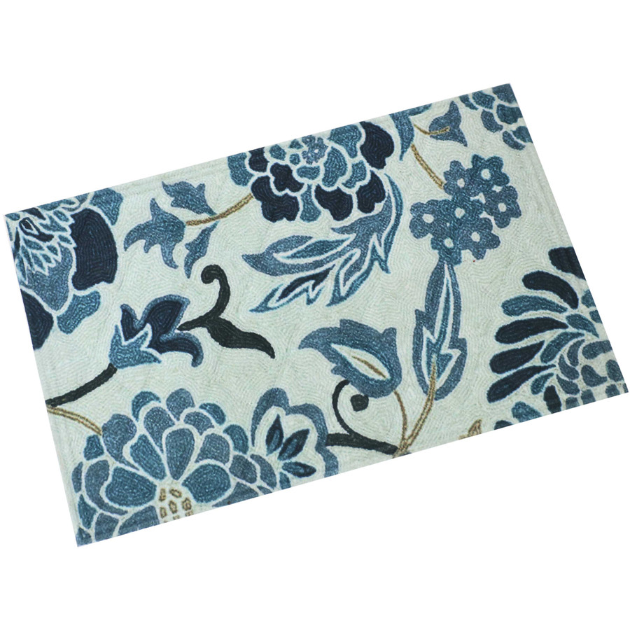"Sunnydaze Kitchen Floor Mat - 23"" L x 35"" W - Blue Floral"