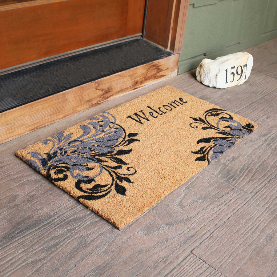 "Sunnydaze 17"" x 29.5"" PVC and Coir Doormat - Blue Leaf Scroll"