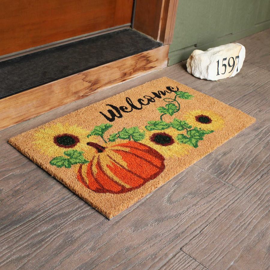 """Sunnydaze 17"""" x 29.5"""" PVC and Coir Doormat - Pumpkin"""