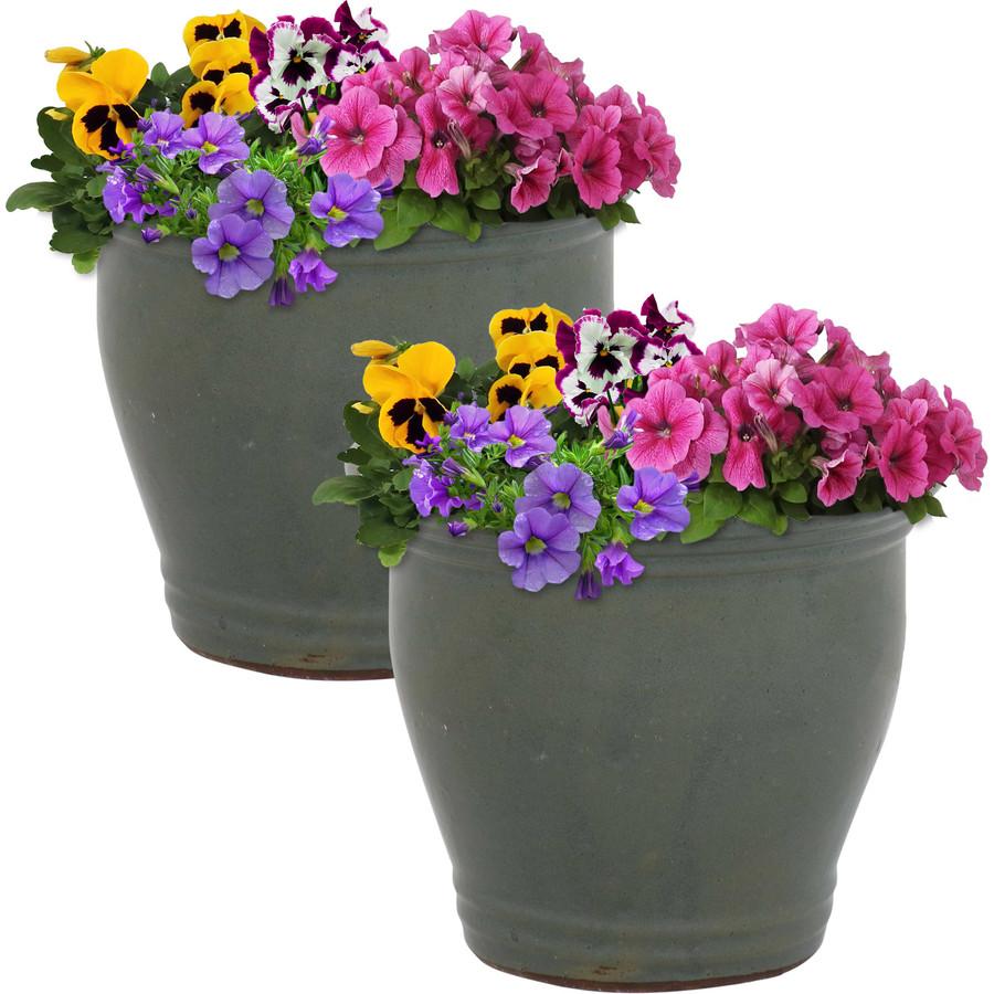 Sunnydaze Studio Set of 2 Ceramic Flower Pot Planter with Drainage Hole - Gray - 11-inch