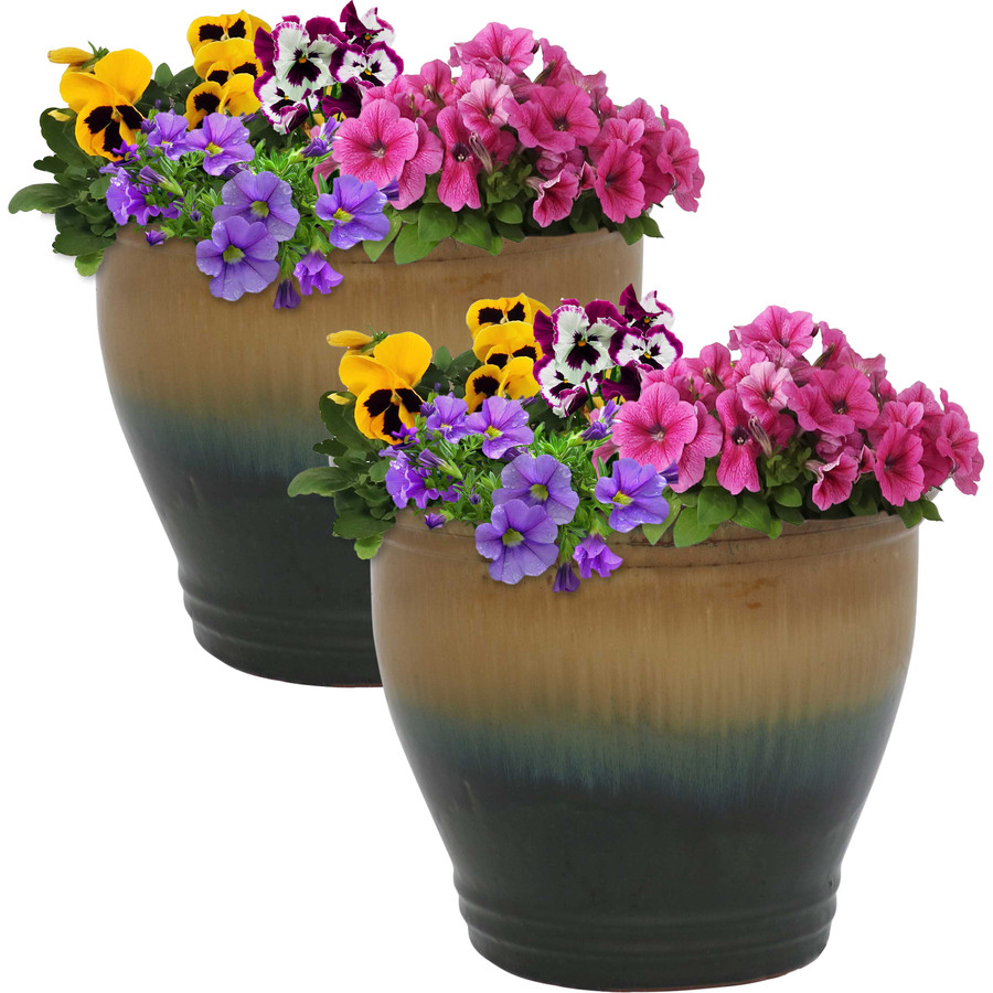Sunnydaze Studio Set of 2 Ceramic Flower Pot Planter with Drainage Hole - Forest Lake Green - 11-inch