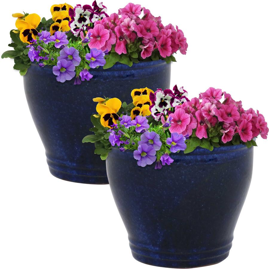 Sunnydaze Studio Set of 2 Ceramic Flower Pot Planter with Drainage Hole - Imperial Blue - 11-inch