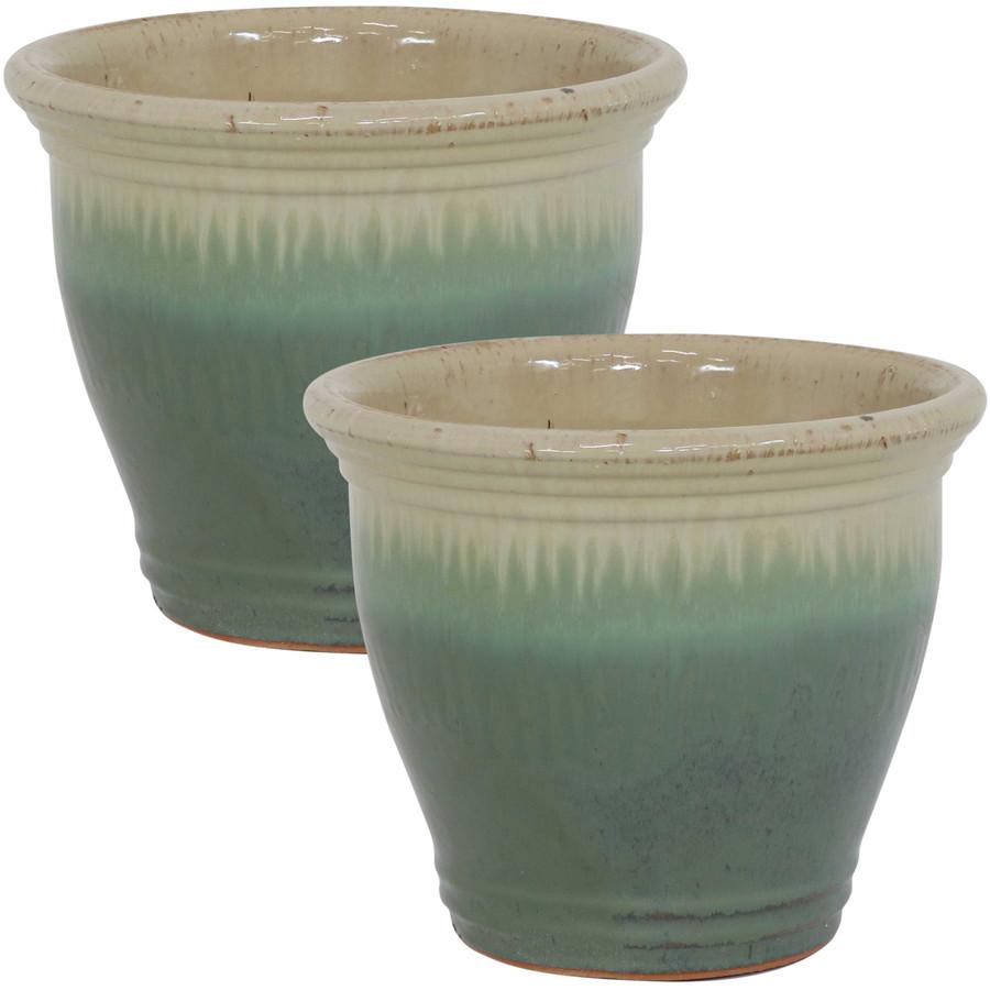 Sunnydaze Studio Set of 2 Ceramic Flower Pot Planter with Drainage Hole - Seafoam - 11-inch