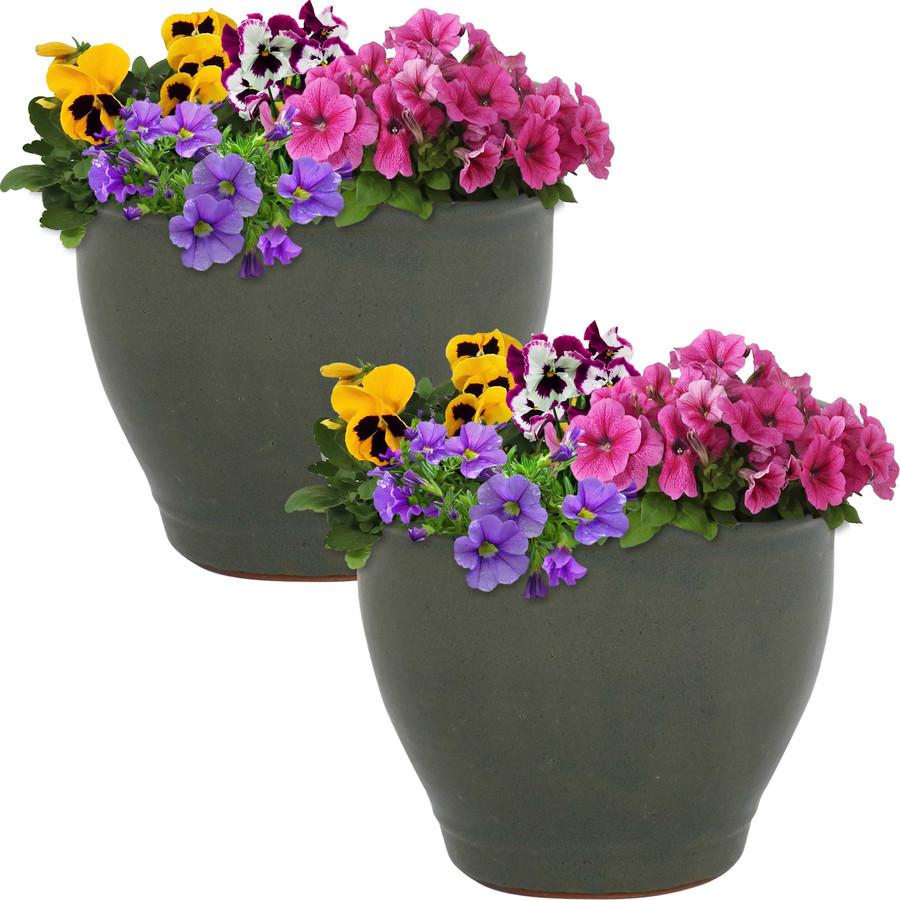 Sunnydaze Studio Set of 2 Ceramic Flower Pot Planter with Drainage Hole - Gray - 9-inch