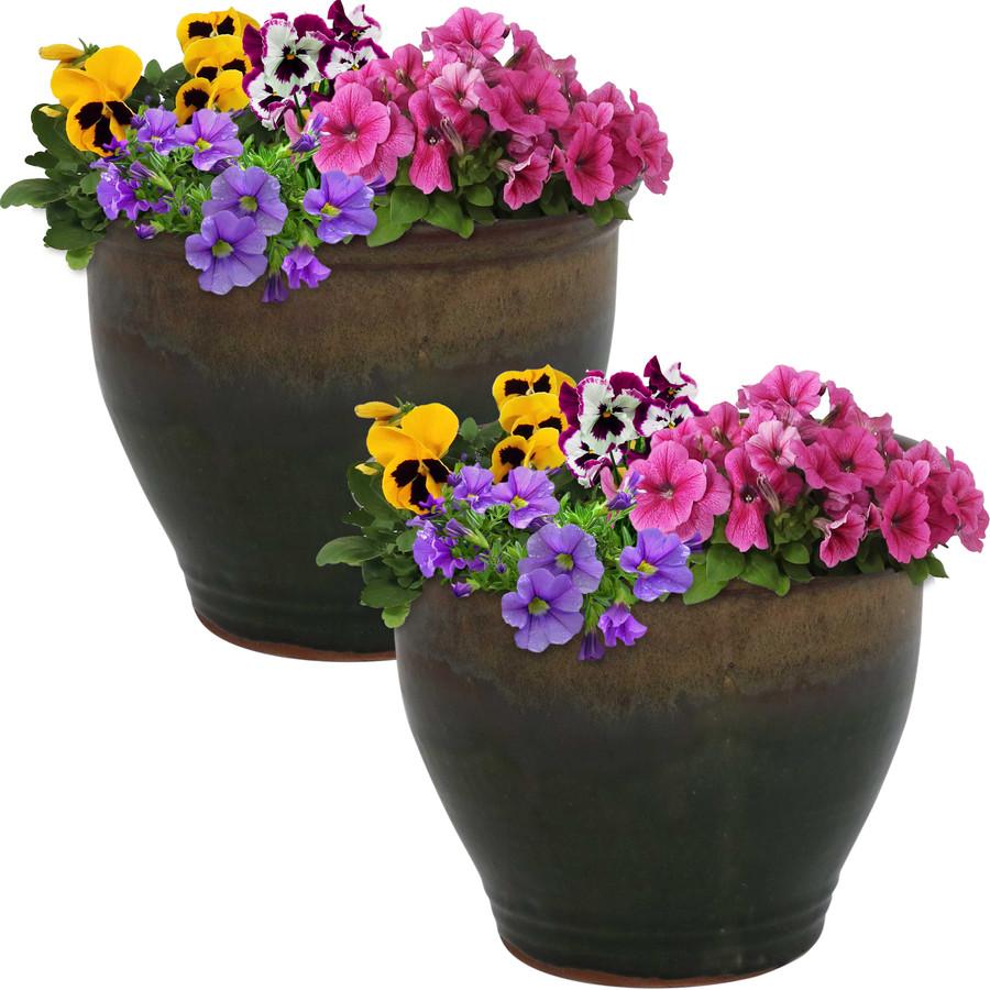 Sunnydaze Studio Set of 2 Ceramic Flower Pot Planter with Drainage Hole - Forest Lake Green - 9-inch