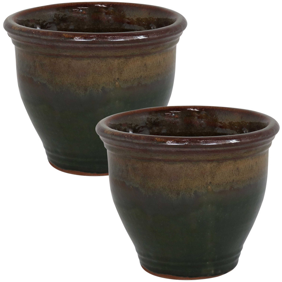 Sunnydaze Studio Set of 2 Ceramic Flower Pot Planter with Drainage Hole - Forest Lake Green - 9-inch