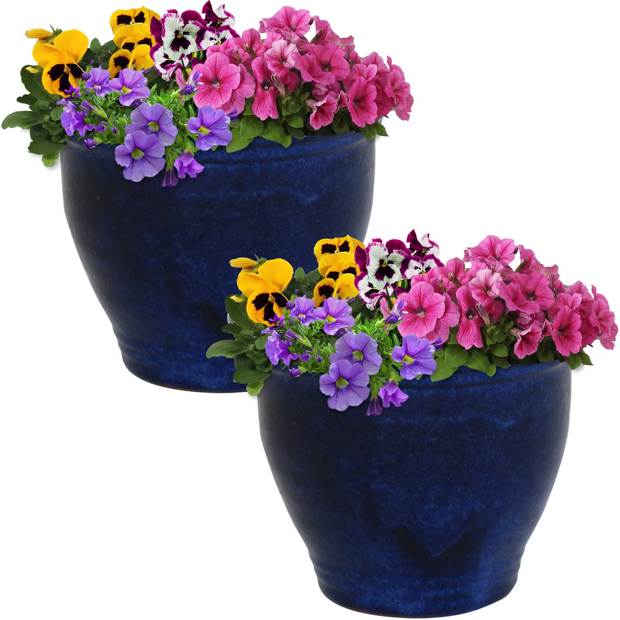 Sunnydaze Studio Set of 2 Ceramic Flower Pot Planter with Drainage Hole - Imperial Blue - 9-inch