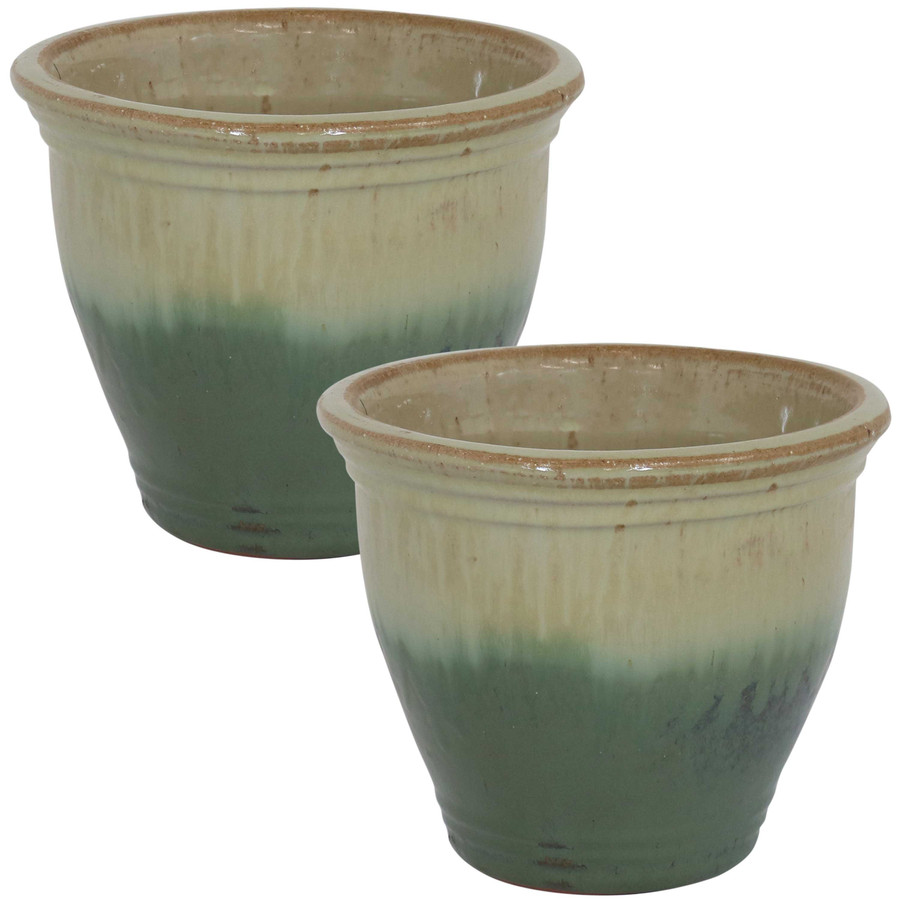 Sunnydaze Studio Set of 2 Ceramic Flower Pot Planter with Drainage Hole - Seafoam - 9-inch