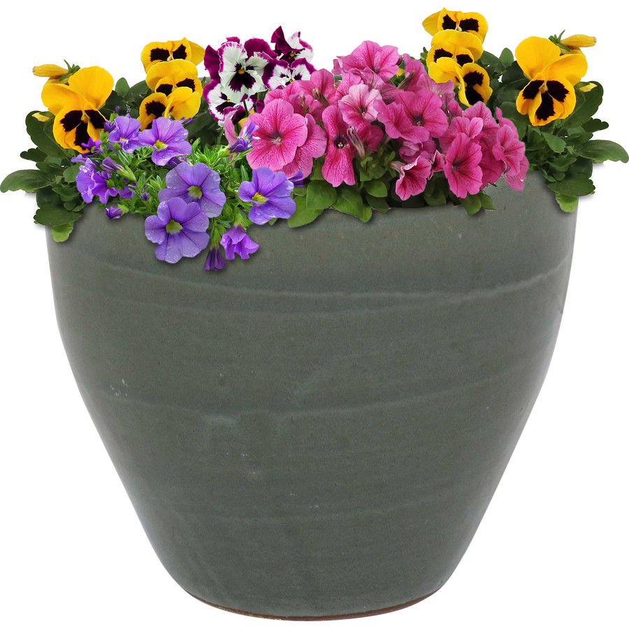Sunnydaze Resort Ceramic Flower Pot Planter with Drainage Holes - Gray - 13-Inch