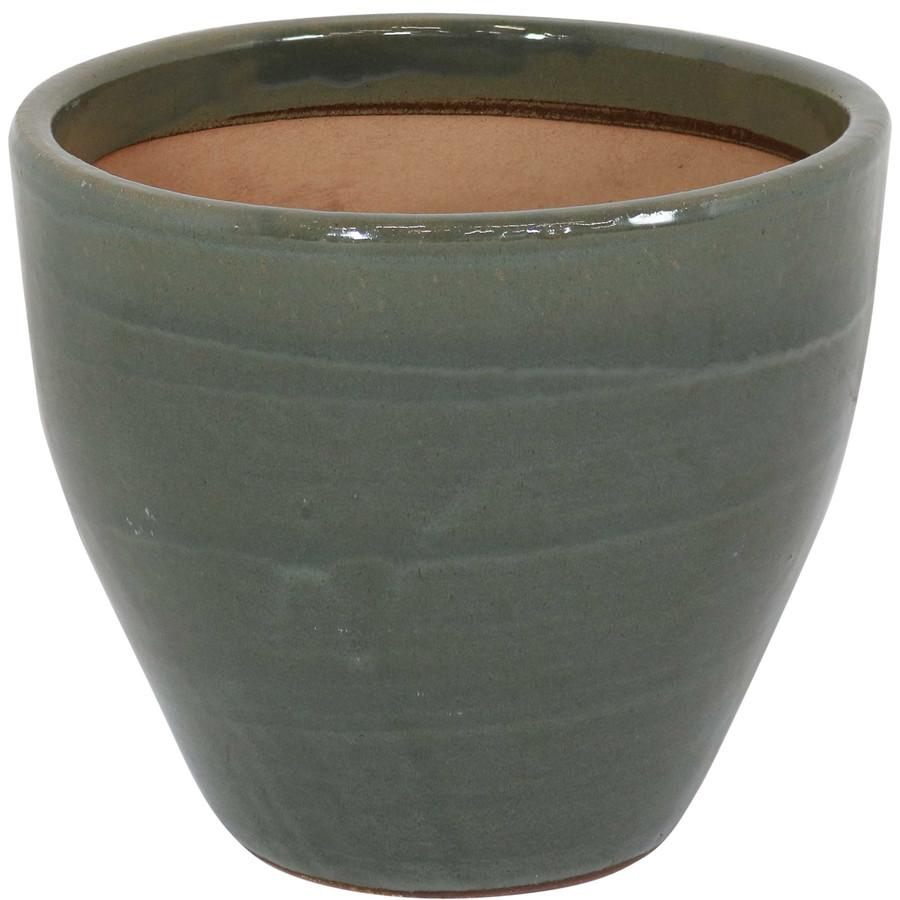 Sunnydaze Resort Ceramic Flower Pot Planter with Drainage Holes - Gray - 13-Inch