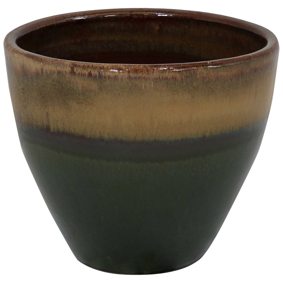 Sunnydaze Resort Ceramic Flower Pot Planter with Drainage Holes - Forest Lake Green - 13-Inch