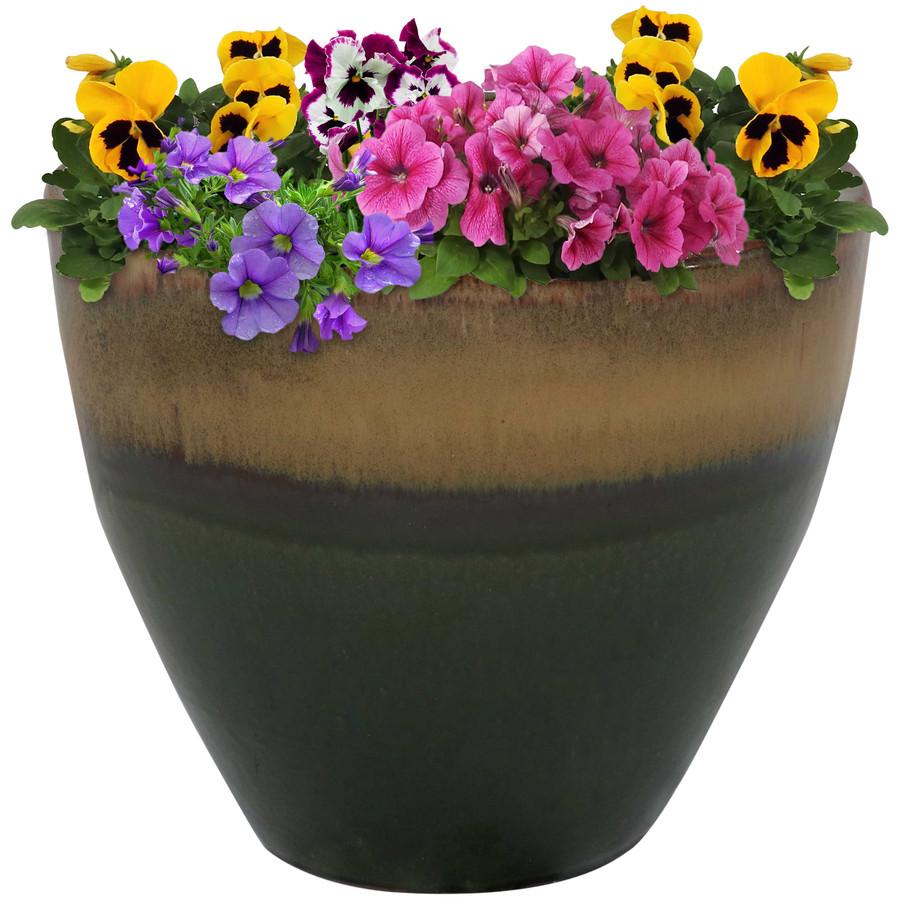 Sunnydaze Resort Ceramic Flower Pot Planter with Drainage Holes - Forest Lake Green - 13-Inch