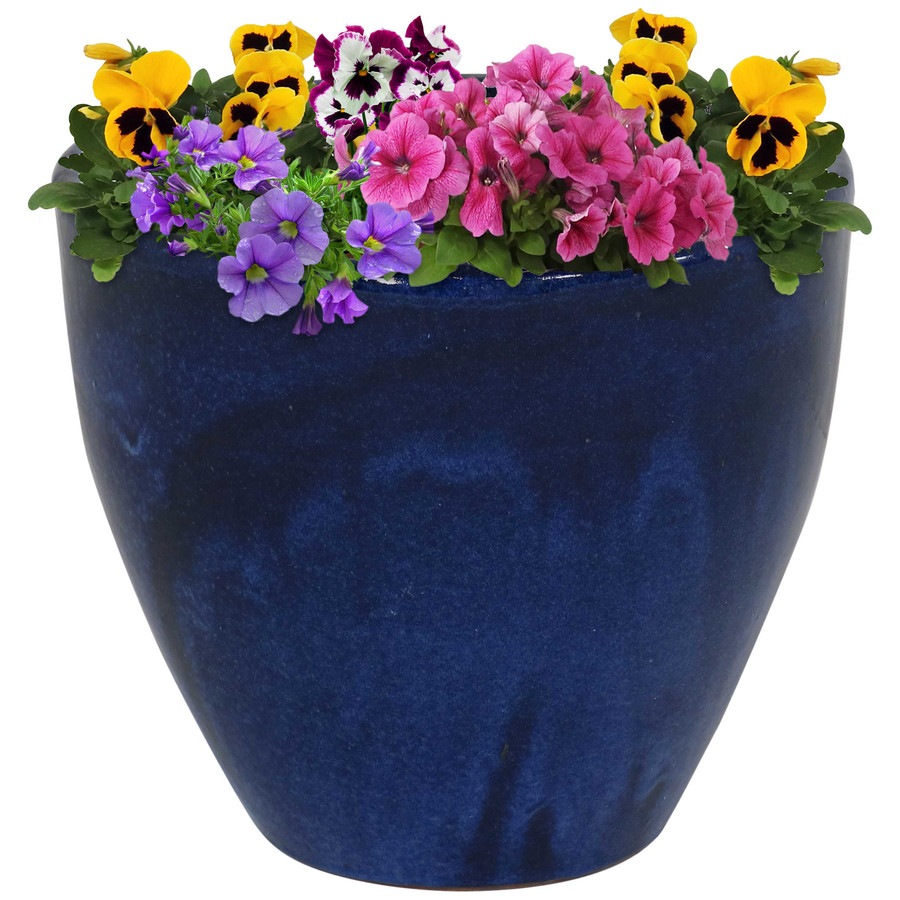 Sunnydaze Resort Ceramic Flower Pot Planter with Drainage Holes - Imperial Blue - 13-Inch