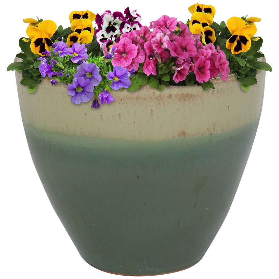 Sunnydaze Resort Ceramic Flower Pot Planter with Drainage Holes - Seafoam - 13-Inch