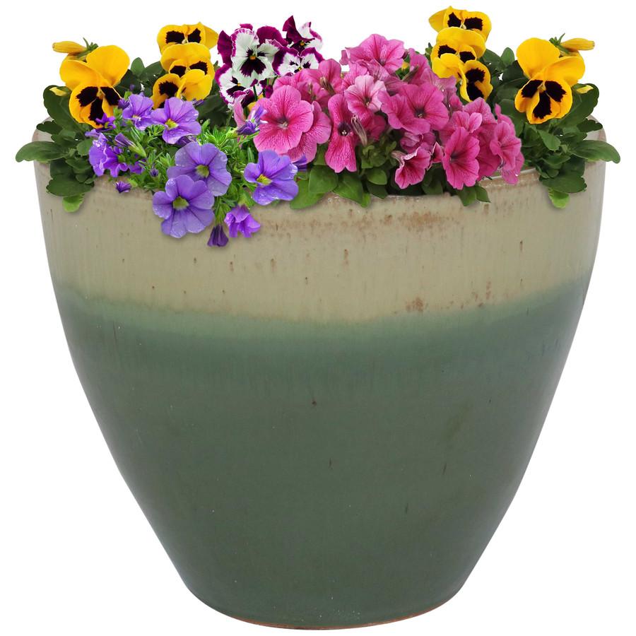 Sunnydaze Resort Ceramic Flower Pot Planter with Drainage Holes - Seafoam - 13-Inch
