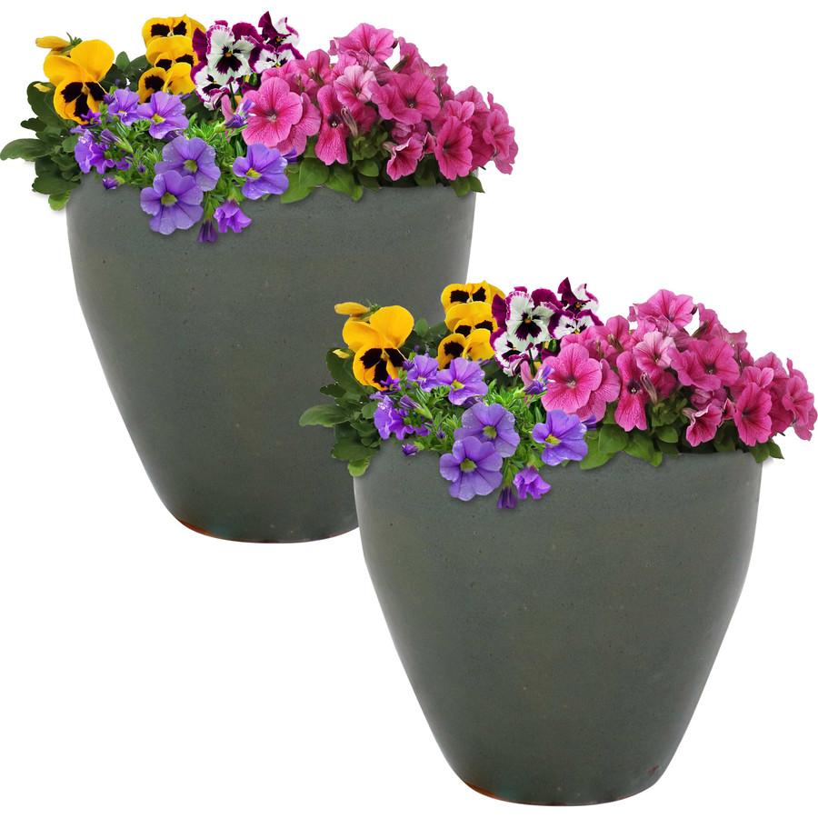 Sunnydaze Resort Set of 2 Ceramic Flower Pot Planter with Drainage Hole - Gray - 10-Inch