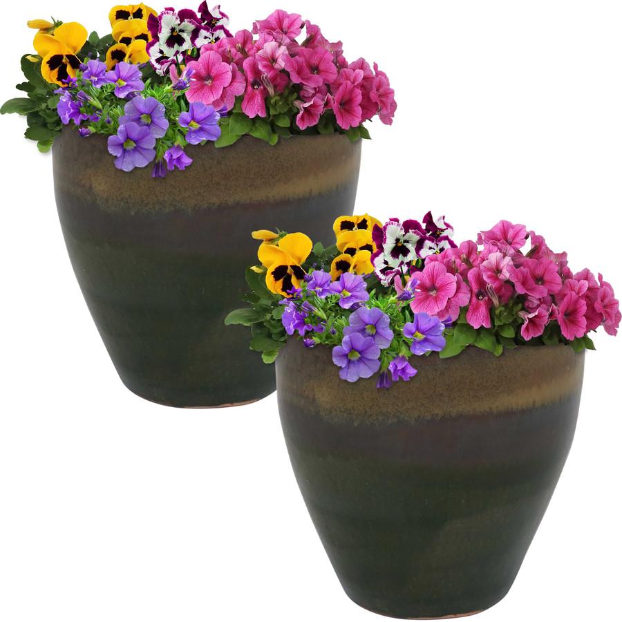 Sunnydaze Resort Set of 2 Ceramic Flower Pot Planter with Drainage Hole - Forest Lake Green - 10-Inch