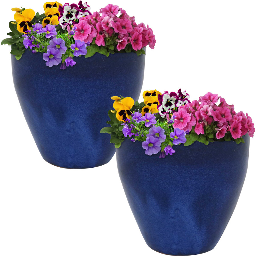 Sunnydaze Resort Set of 2 Ceramic Flower Pot Planter with Drainage Hole - Imperial Blue- 10-Inch