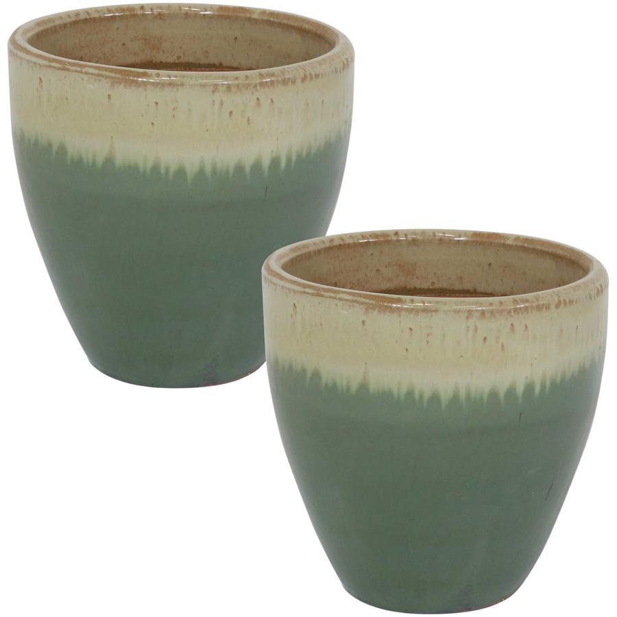 Sunnydaze Resort Set of 2 Ceramic Flower Pot Planter with Drainage Hole - Seafoam- 10-Inch