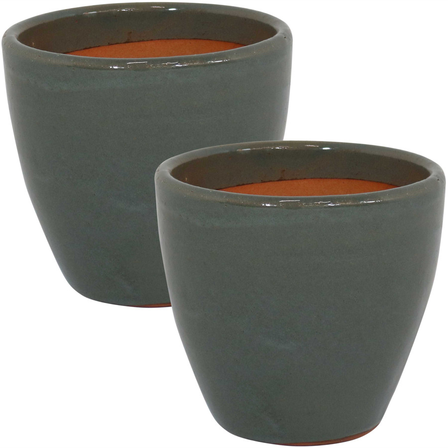 Sunnydaze Resort Set of 2 Ceramic Flower Pot Planter with Drainage Hole - Gray - 8-Inch