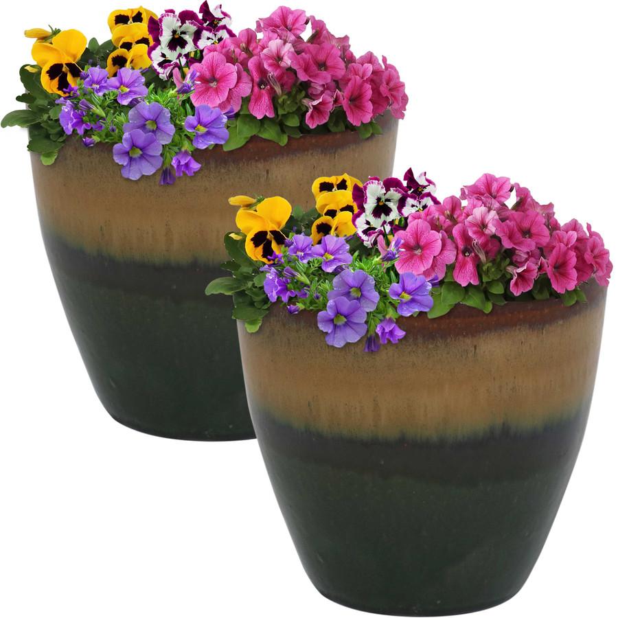 Sunnydaze Resort Set of 2 Ceramic Flower Pot Planter with Drainage Hole - Forest Lake Green - 8-Inch