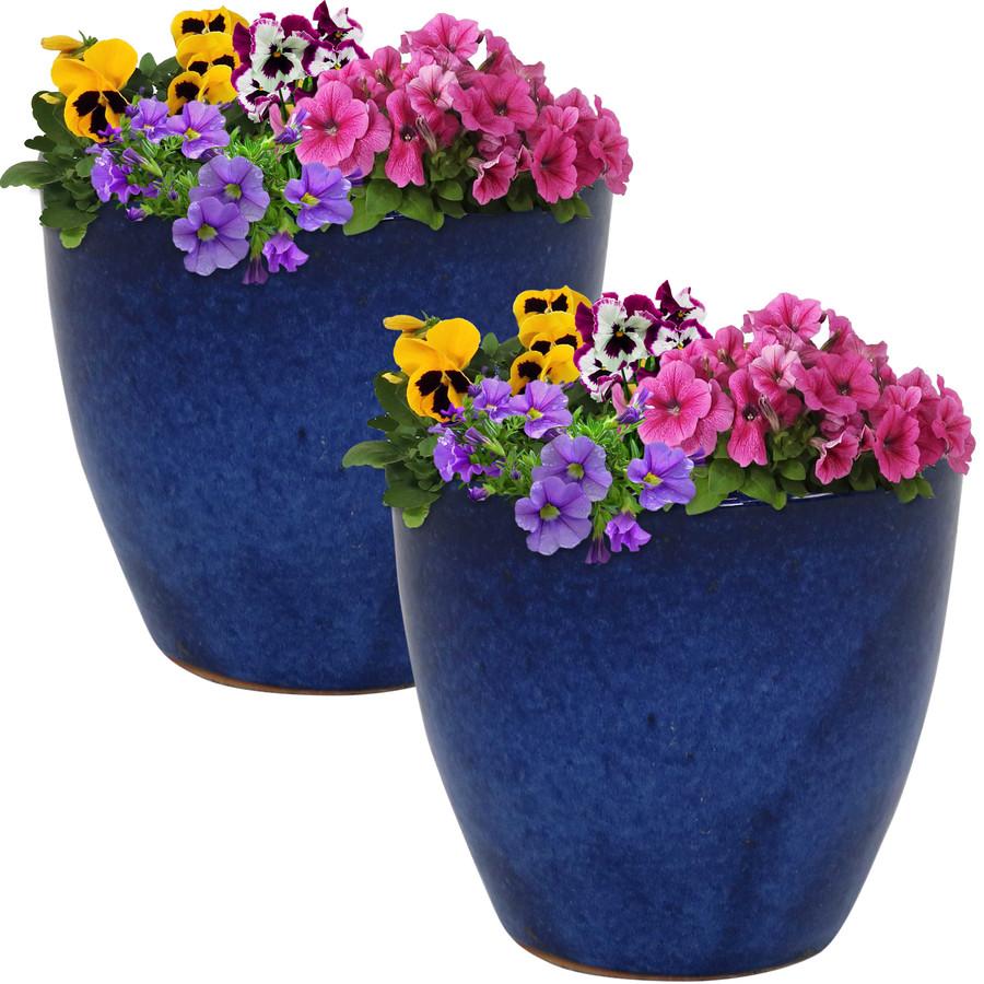 Sunnydaze Resort Set of 2 Ceramic Flower Pot Planter with Drainage Hole - Imperial Blue - 8-Inch