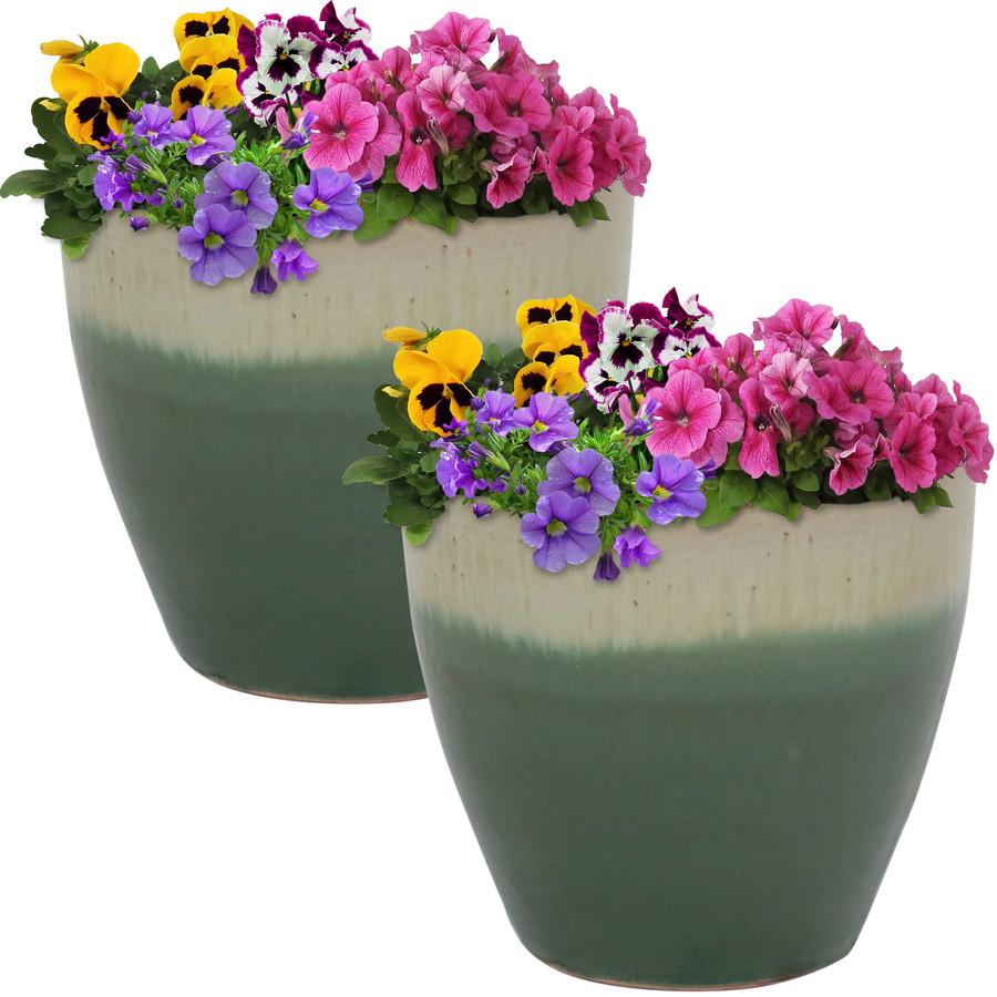 Sunnydaze Resort Set of 2 Ceramic Flower Pot Planter with Drainage Hole - Seafoam - 8-Inch