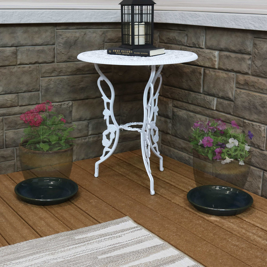 Sunnydaze Set of 2 Ceramic Planter Saucers - High-Fired Glazed UV and Frost-Resistant Finish - Outdoor/Indoor Use