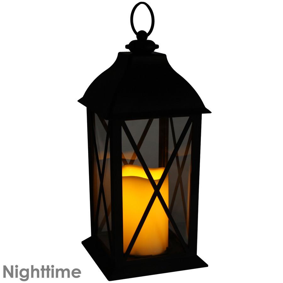 Lexington Indoor Decorative LED Candle Lantern, Nighttime