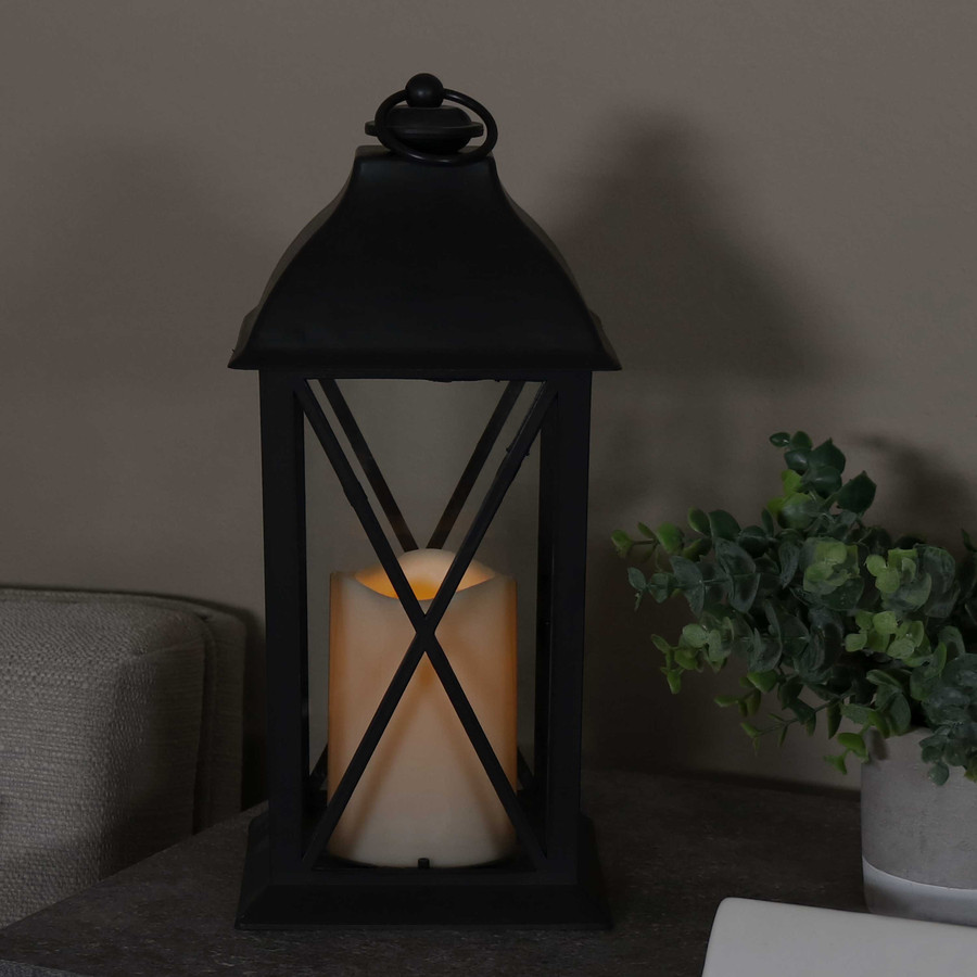 Lexington Indoor Decorative LED Candle Lantern, Single, Nighttime