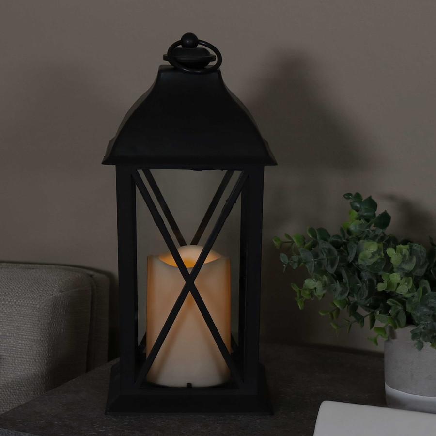 Lexington Indoor Decorative LED Candle Lantern, Single, Nighttime
