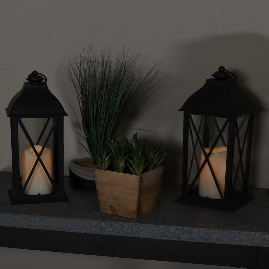 Lexington Indoor Decorative LED Candle Lantern, Set of 2, Nighttime