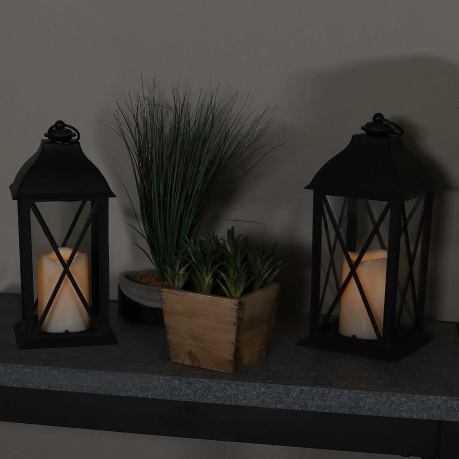 Lexington Indoor Decorative LED Candle Lantern, Set of 2, Nighttime