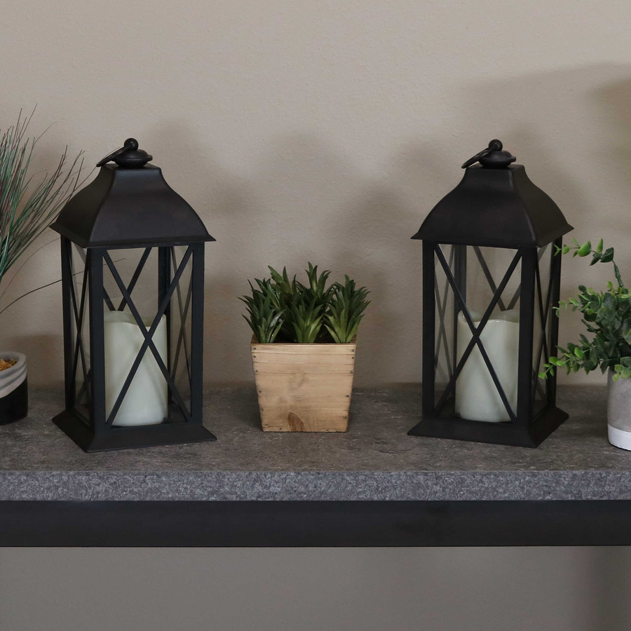 Lexington Indoor Decorative LED Candle Lantern, Set of 2, Lights Off