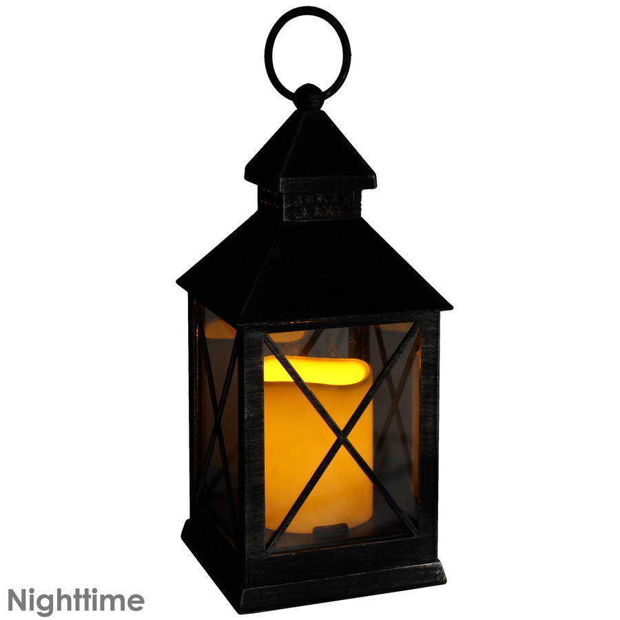 Yorktown Indoor Decorative LED Candle Lantern, Nighttime