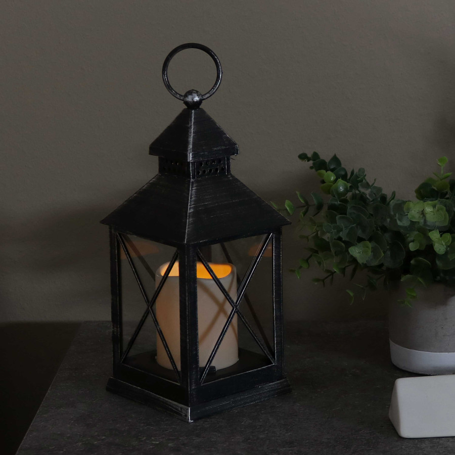 Yorktown Indoor Decorative LED Candle Lantern, Single, Nighttime
