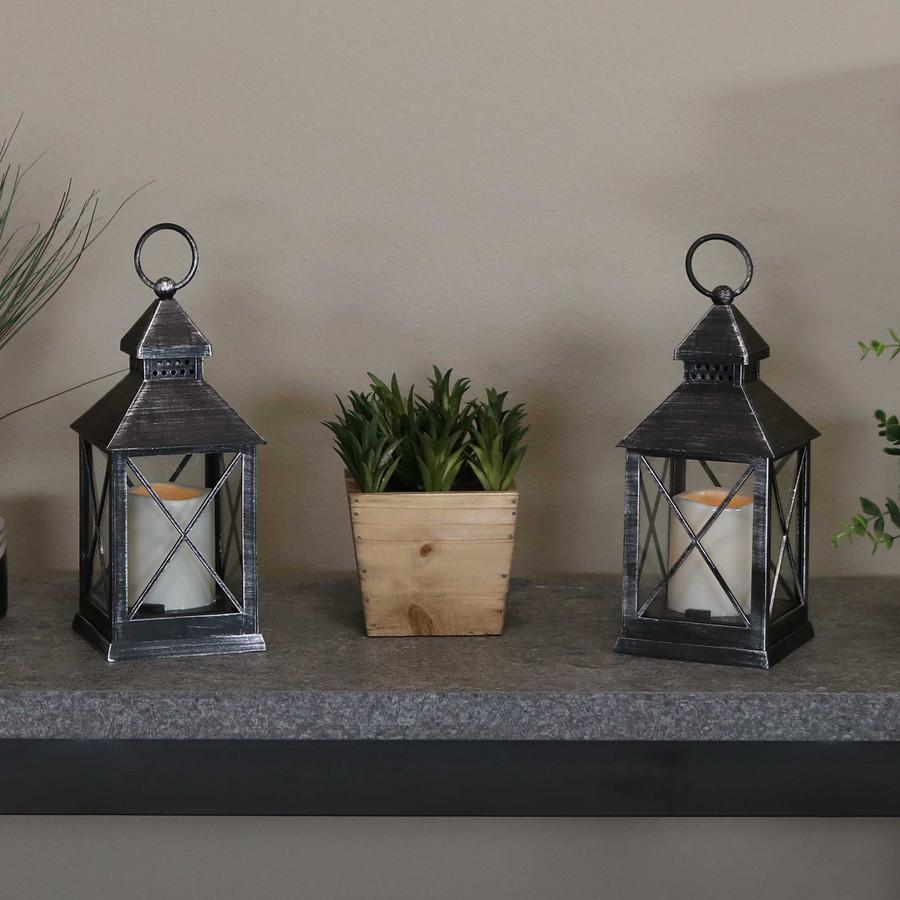 Yorktown Indoor Decorative LED Candle Lantern, Set of 2