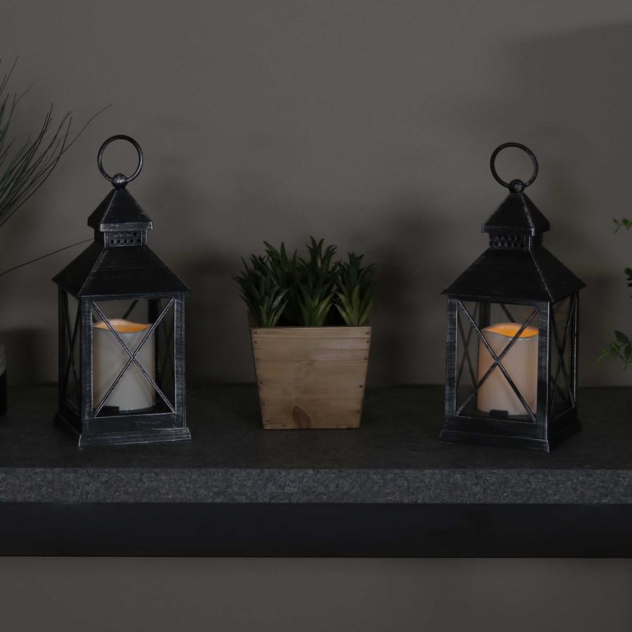 Yorktown Indoor Decorative LED Candle Lantern, Set of 2, Nighttime